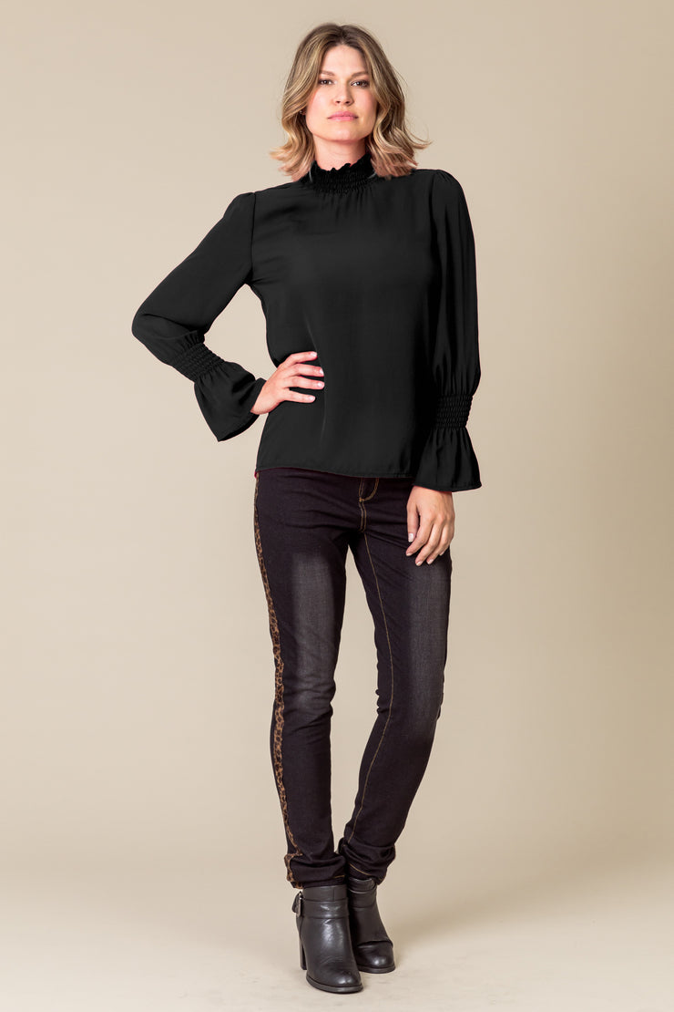 So Mee Harlow Ruched Cuff Blouse