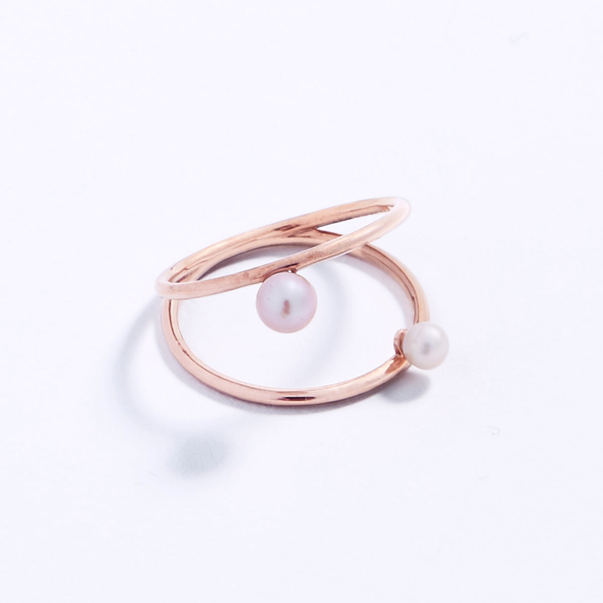 Duo ring- 14k rose gold or yellow gold