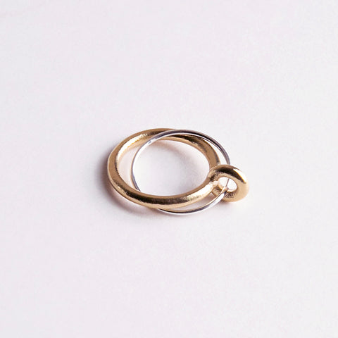 Binary Ring Silver and Brass