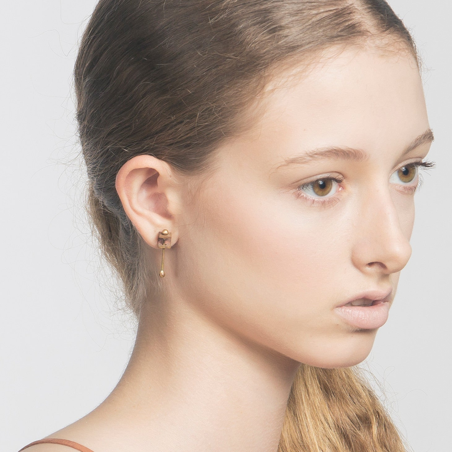 Metalepsis Projects Bar Box Earring on model