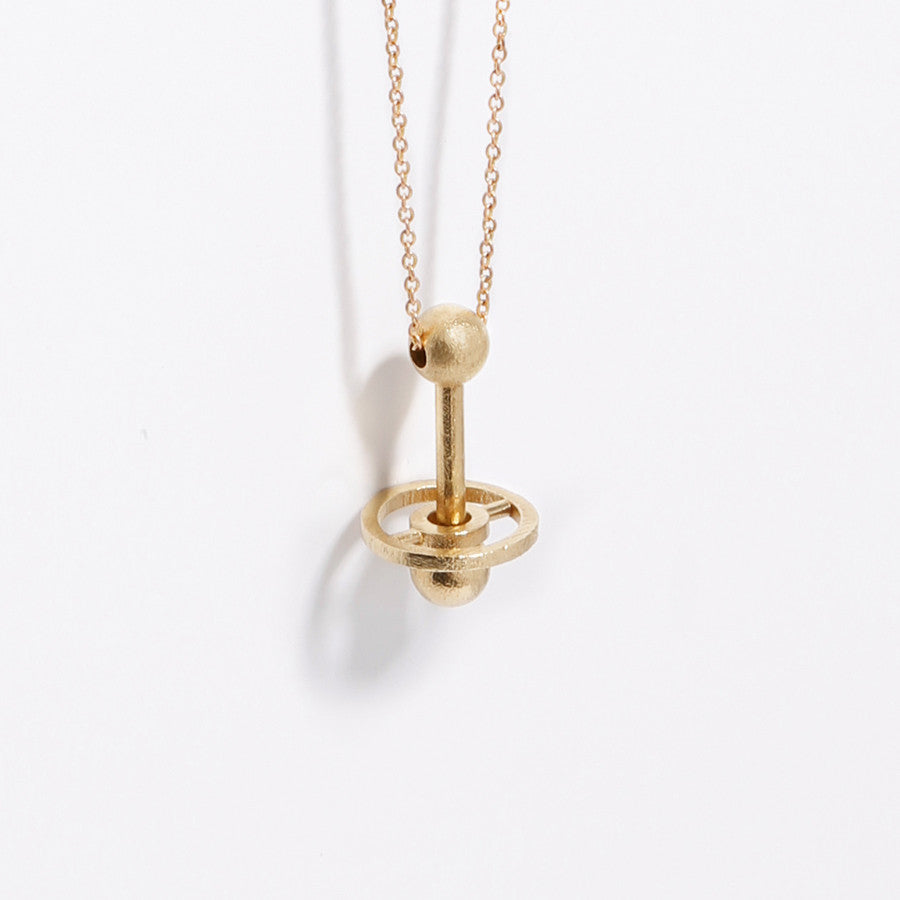 Flying Disc Necklace in Brass