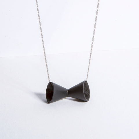 Megaphone - matte black with sterling silver chain