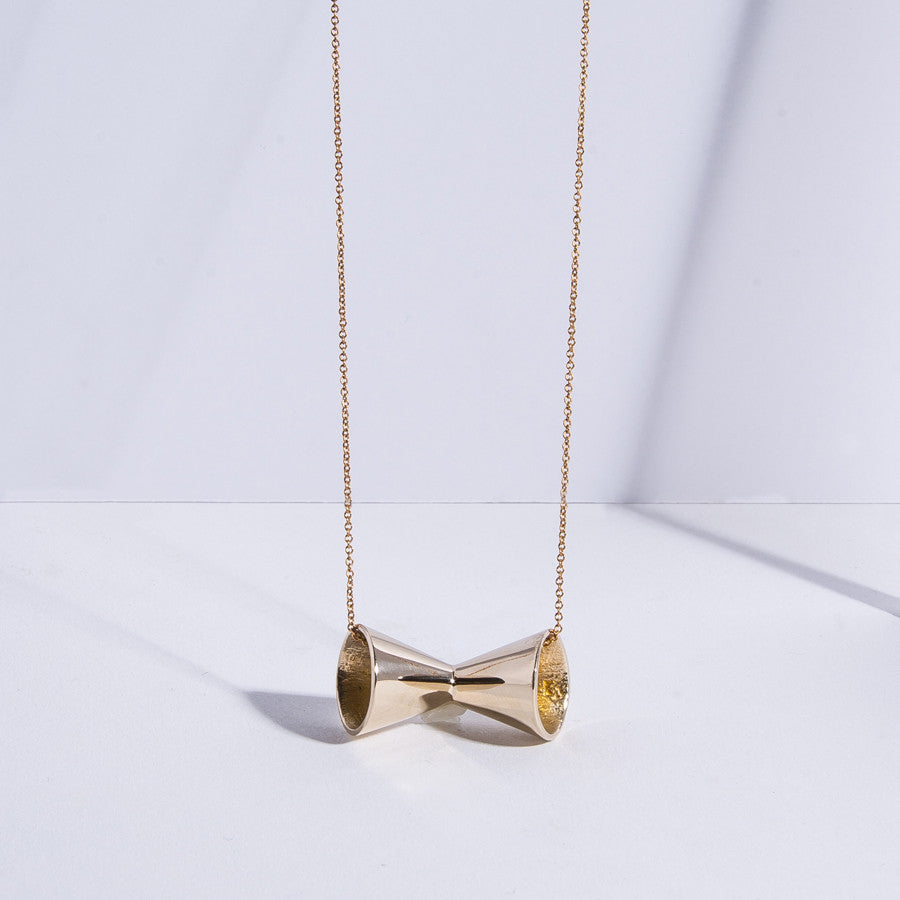Megaphone Necklace - high polish bronze
