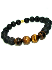 Tigers Eye Lava Rock Bracelet