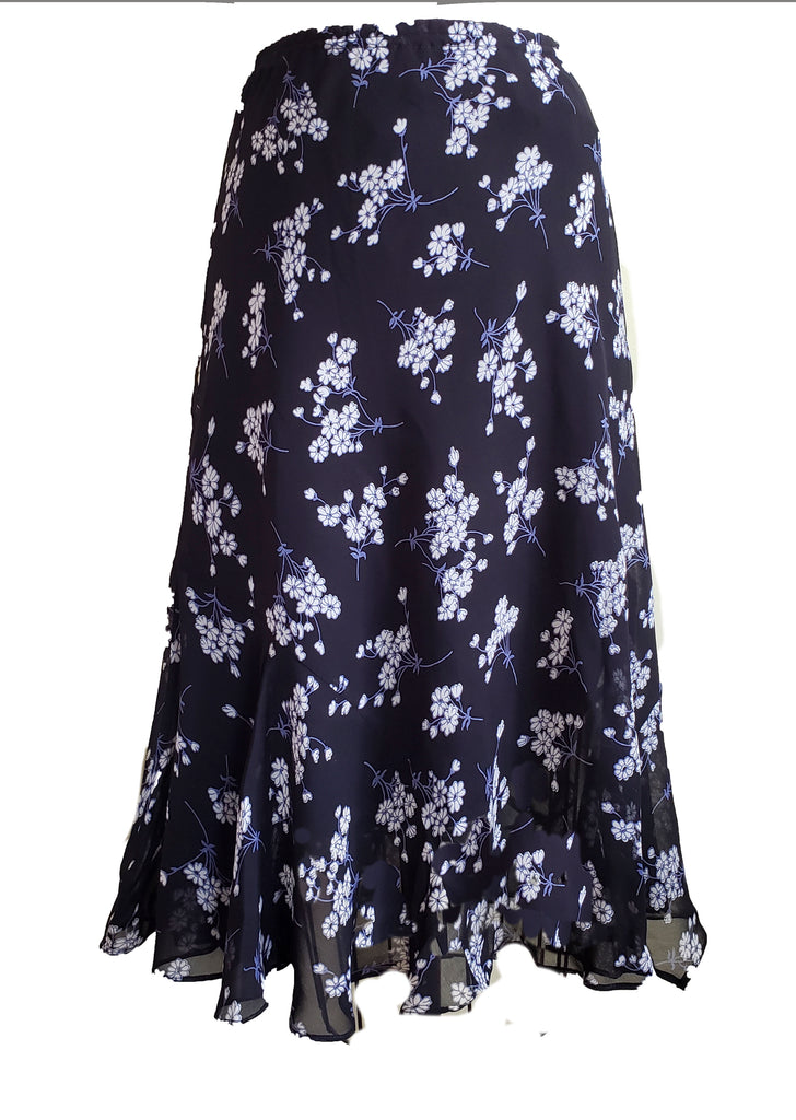 Black and Blue Floral LFlip skirt