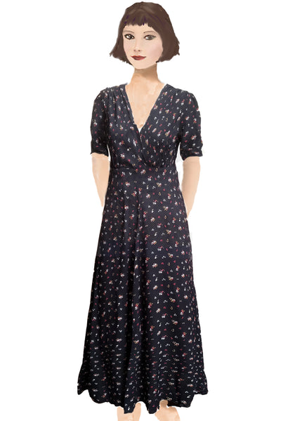 Stanwyck dress- Spaced Black Ditsy