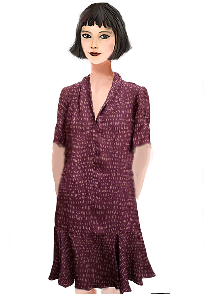 Florence Flapper dress- Burgundy Bits
