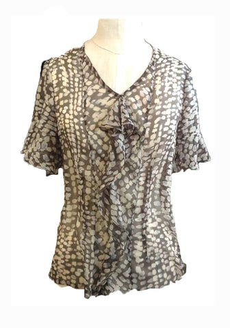 Silk Cascade Blouse-Taupe Smudge