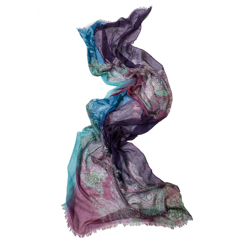 Luxe Cashmere Shawl- Blue-Purple Paisley