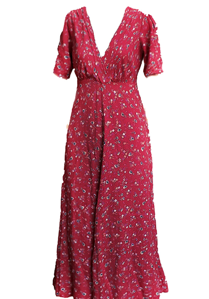 Stanwyck Dress-Cranberry Ditsy