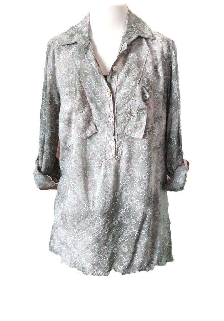 Distressed Ditsy Blouse