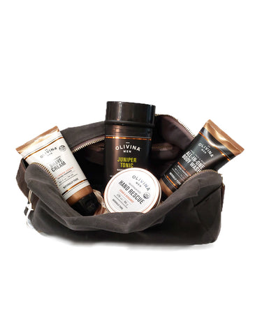 Men's Deluxe Dopp kit filled organic skin Care