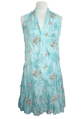 Flapper Dress- Aqua Embroidery