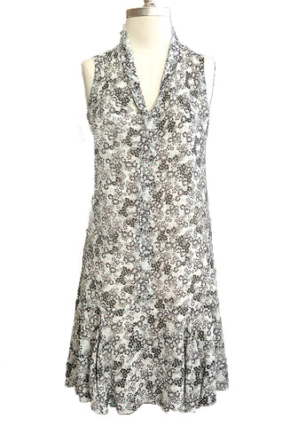 Flapper Dress-Cloud Meadow-Silk Linen blend