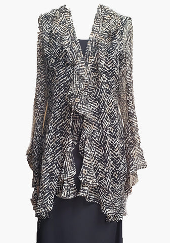 Silk Flutter Jacket-Tribal Zig-Zag