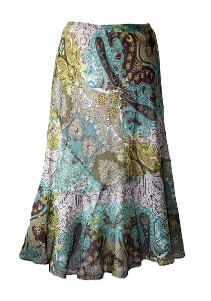 LFlip skirt- Teal Paisley- Silk Cotton