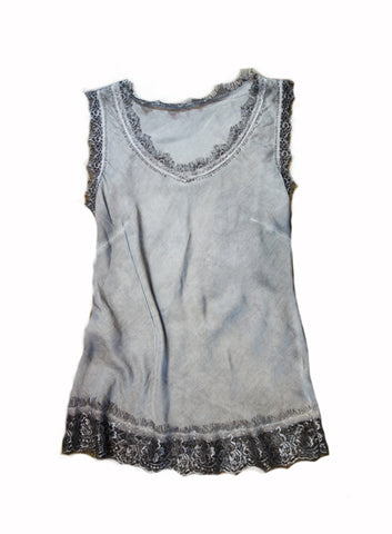 Lace trim satin tank