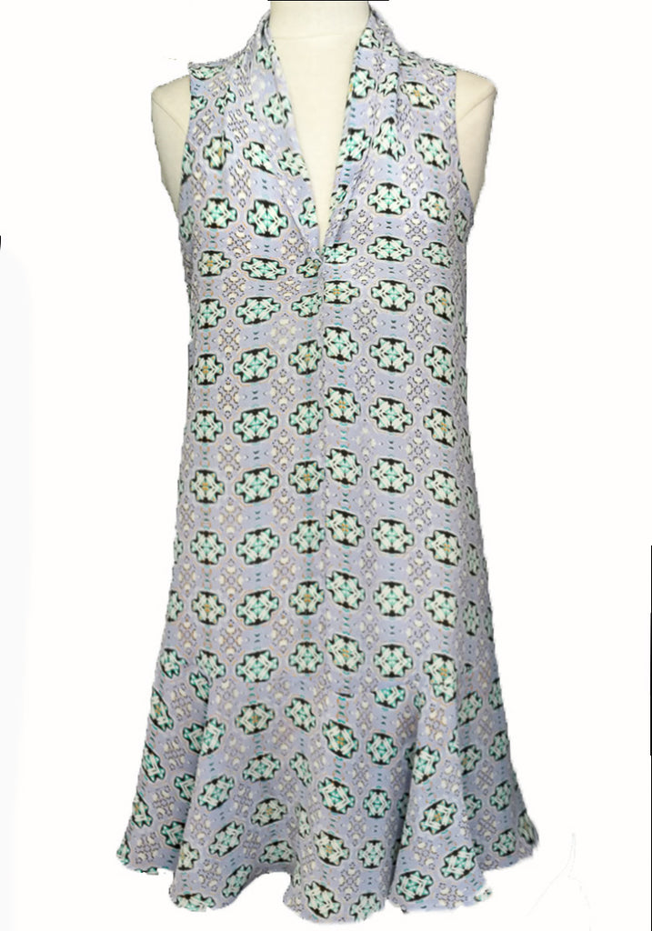 Lavender Medallion Silk Flapper Dress