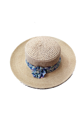 French Boater hat with Liberty of London floral band