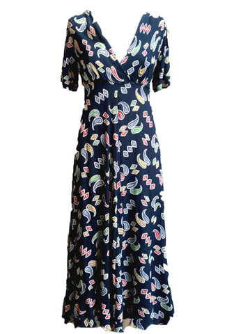 Navy Bandana Stanwyck dress