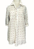 Oversized Cotton shirt with woven medallions