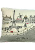 Embroidered Paris Pillow