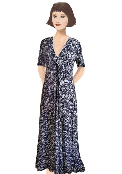 Stanwyck Dress- Black and White Floral