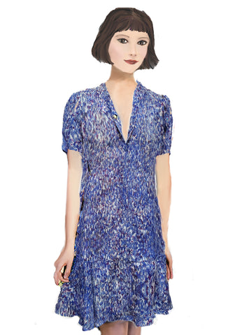 Florence Flapper Dress-Blue Paintbrush