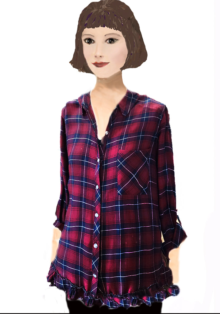Ruffled hem Plaid shirt