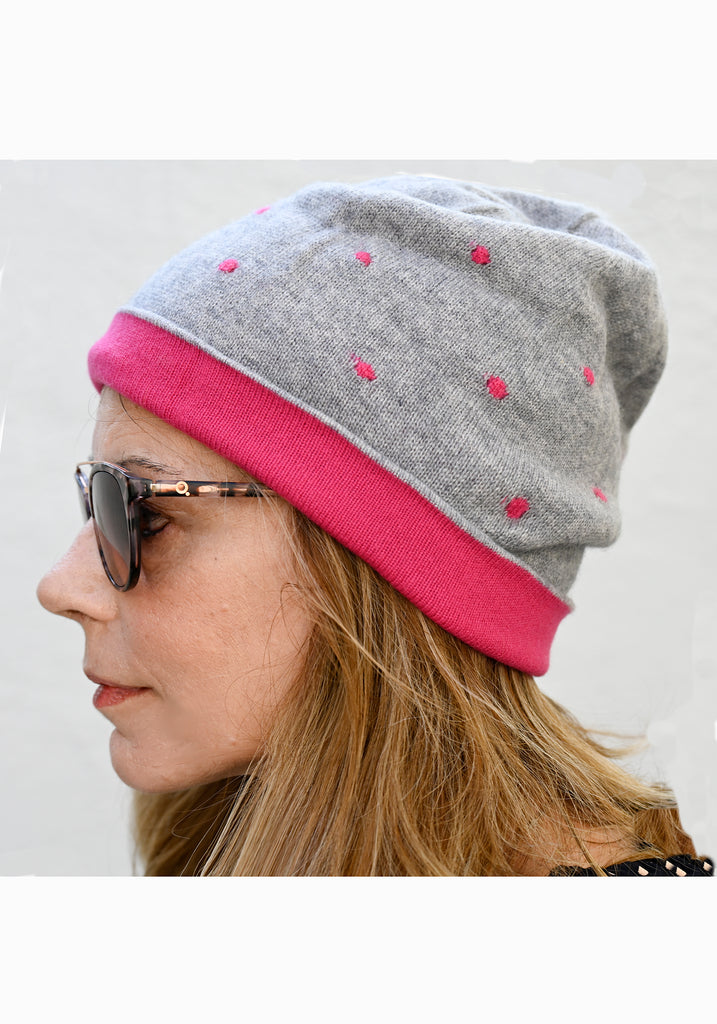 Reversible Cashmere Slouchy Beanie