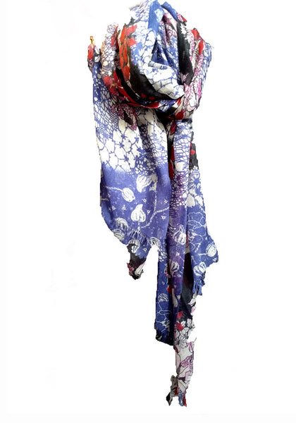 Luxe Floral Pachwork print Cashmere silk shawl