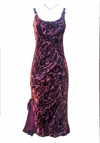 Velvet Bias Dress in Dark Raspberry Paisley