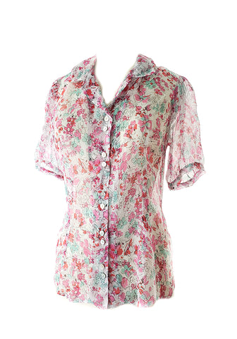 Madeline Blouse-Elbow sleeve-Retro Candy floral