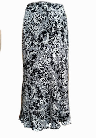 Long Reversible Skirt Gray Black Floral