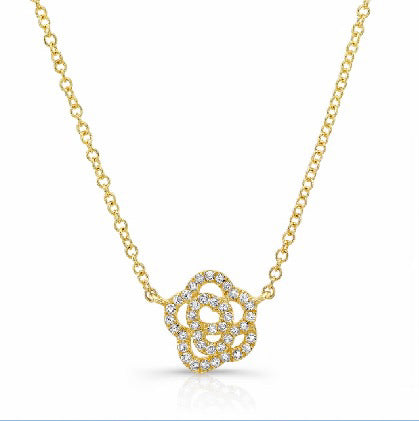 14K Gold necklace with Diamond Pavé Rose
