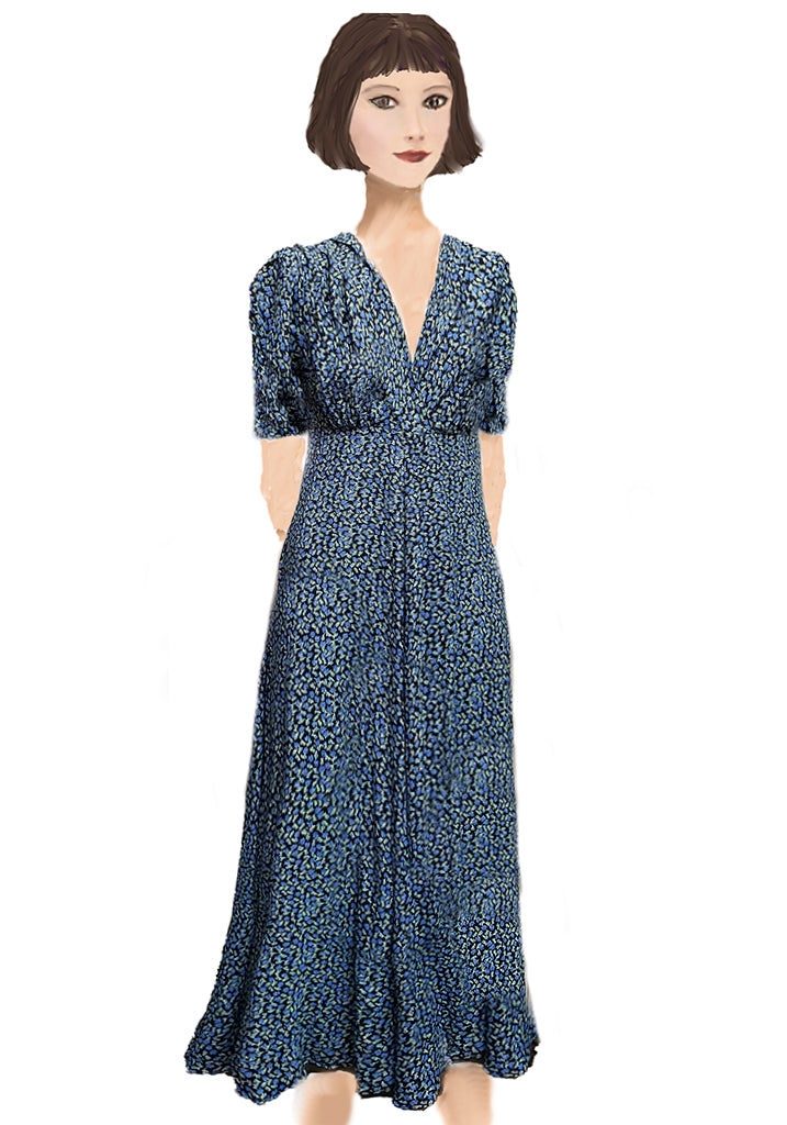 Stanwyck dress- Black and Blue Ditsy
