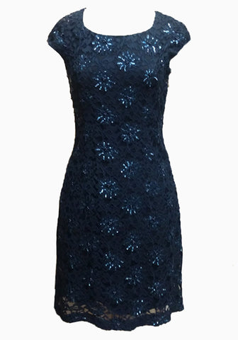 Cap sleeve Sparkle Navy sheath