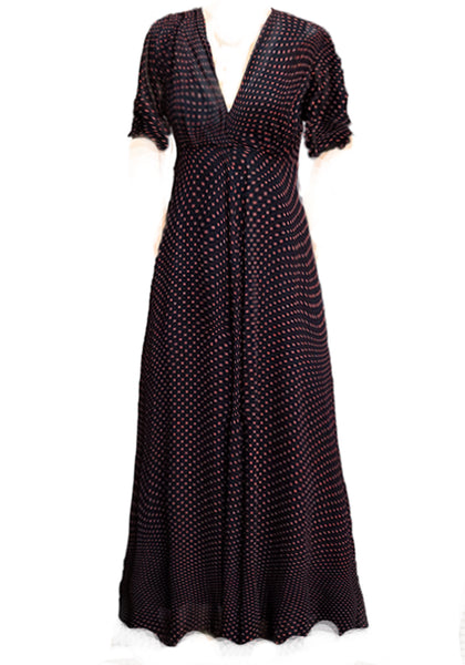 Stanwyck dress-Red Pindot