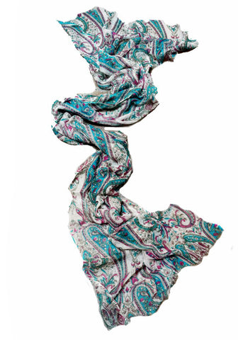Cashmere Shawl - Teal Paisley