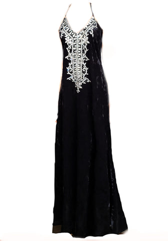 Long, Velvet Embellished, Slip Dress