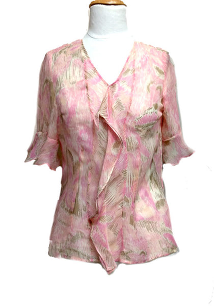 Watercolor Silk Cascade Blouse
