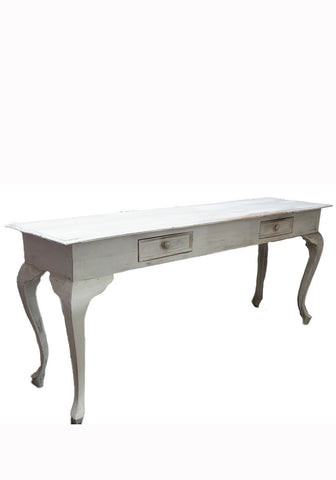Long, Whitewashed French Side Table