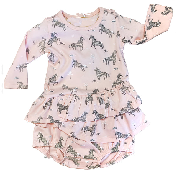 Organic Cotton Wild Horses Ruffle top and Bloomers