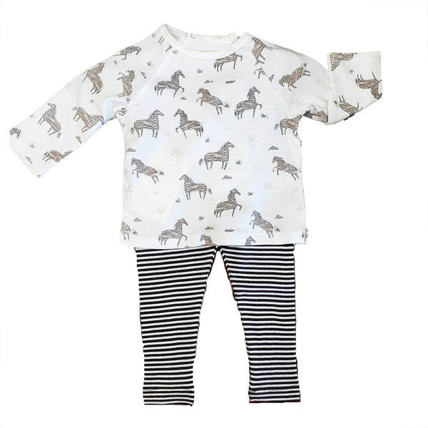Organic cotton  set: Wild horses tee with  striped leggings