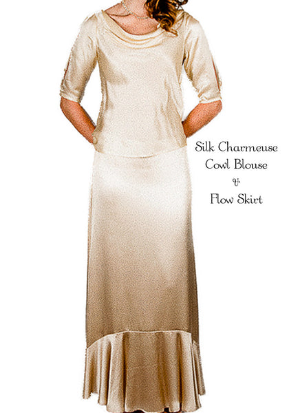 Cowl Blouse/Flow Skirt
