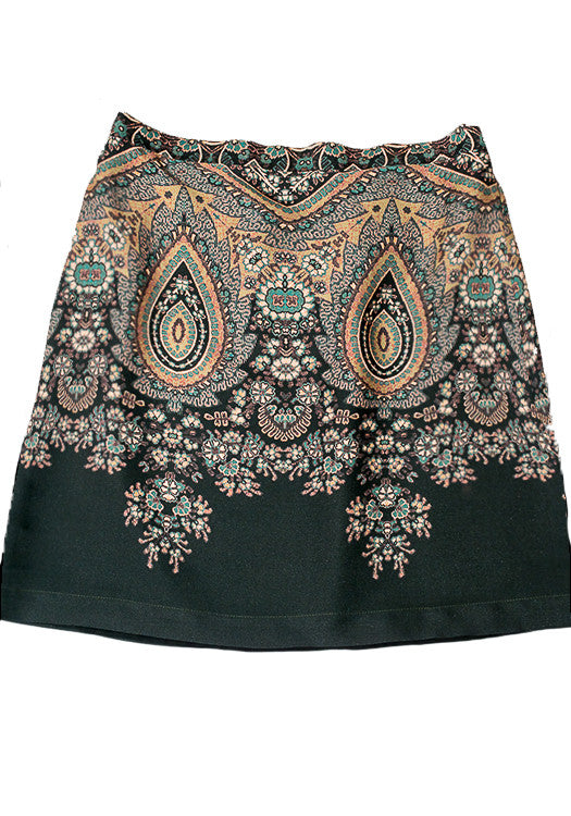 Claire Skirt - Sage Paisley Silk