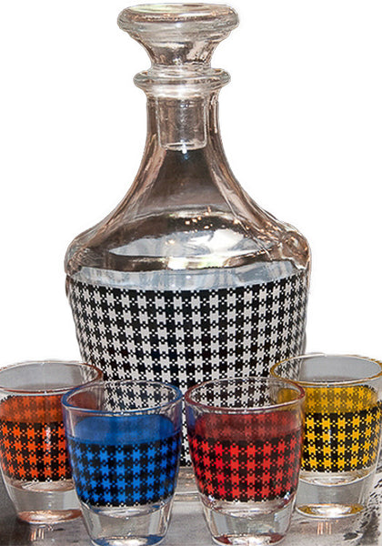 Vintage Gingham Carafe & Shot Glasses