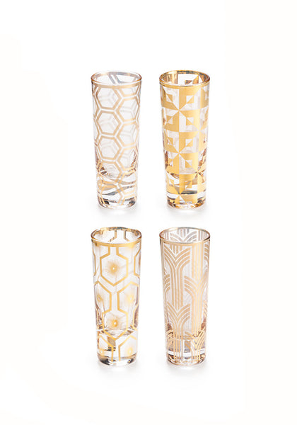 Gilt Deco Double Shot Glasses