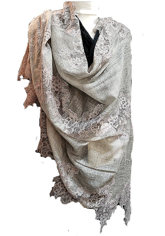 Super Luxe French Lace and Cashmere Shawl with tiny Swarovsky crystals