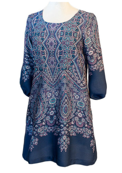 Silk Scarf Shift Dress - Blue Paisley